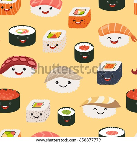 Sushi emoji seamless pattern, cartoon style. Emoticon kawaii character. Hand draw cute japanese food objects. Wallpaper with facial food icon. Colorful vector backdrop