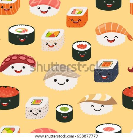 sushi emoji seamless pattern