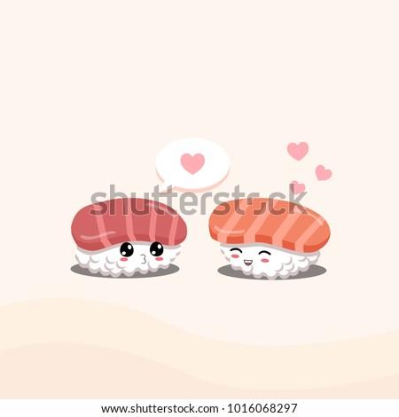 Sushi in love no. 2. Tuna and salmon sushi.