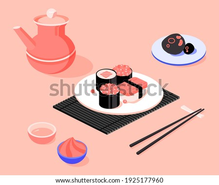 Sushi. Japanese food. Asian delivery food, isometric vector illustration.
