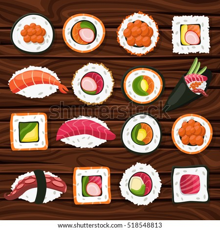 Sushi, Japanese food on a wooden background. Sushi rolls flat food and japanese seafood sushi rolls. Asia cuisine restaurant delicious. Sushi roll with salmon, smoked eel, selective food vector.