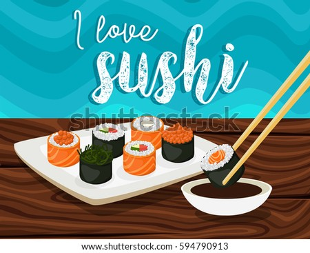 Sushi,Japanese food.Sushi rolls flat food and japanese seafood sushi rolls. Asia cuisine restaurant delicious.Sushi roll with salmon,smoked eel, selective food vector.