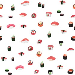 sushi japanese food vector doodle seamless pattern