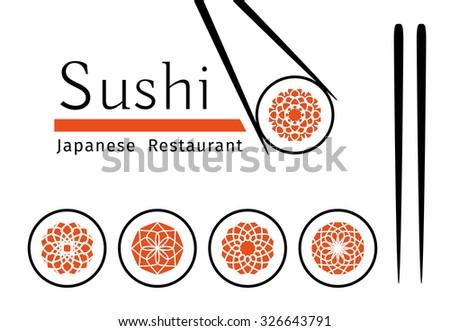 Sushi logo templates set. Vector ornamental emblem for Japanese restaurants and cafes