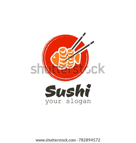 Sushi logo with fish, chinese chopsticks and red circle. Vector icon for restaurant on a white background.