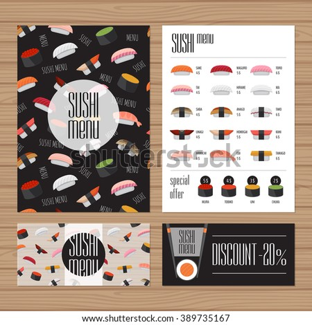 Sushi menu design. A4 size and flyer layout template.  Japanese food restaurant brochure with modern graphic. Front page and back page. Vector illustration.