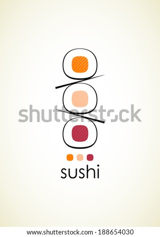 Sushi menu design template with text on light grey vertical background. Vector version.
