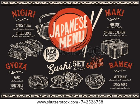 sushi menu for restaurant and