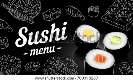 Sushi menu sketch cover.Vector clip art illustration.