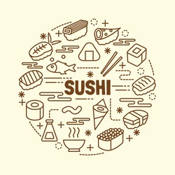 sushi minimal thin line icons set, vector illustration design elements