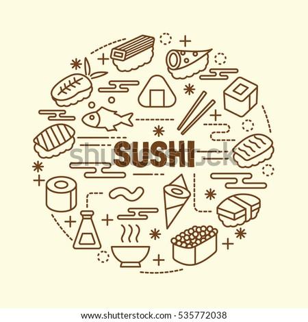 sushi minimal thin line icons