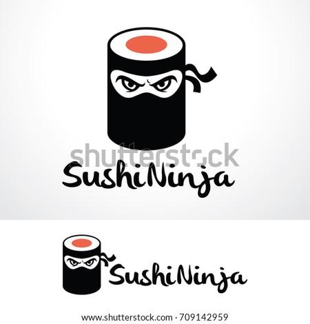 sushi ninja logo template