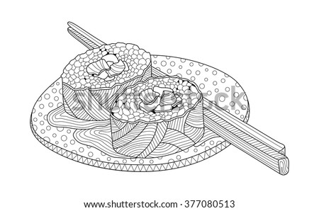 sushi on a plate coloring book