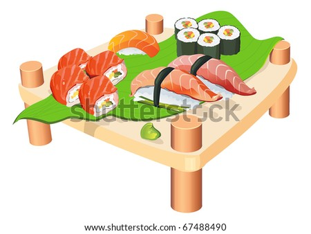 Sushi on a wooden plate isolated on white background. Seafood set, vector illustration and other traditional Japanese food. - stock vector