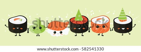 Sushi party. Vector illustration. Cute sushi characters. Asian food