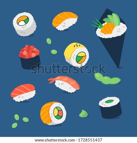 Sushi pattern, collection set. vector minimal flat illustration, background. Japanese restaurant food, nigiri, maki, temaki, roll, salmon, avocado, edamame beans, wasabi.