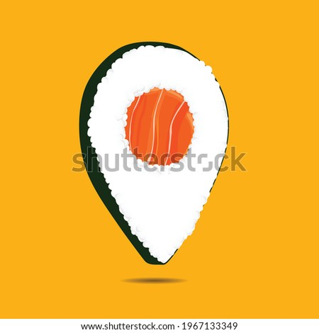 Sushi point. Sushi icon on pointer. Sushi restaurant. Delivery. Vector.