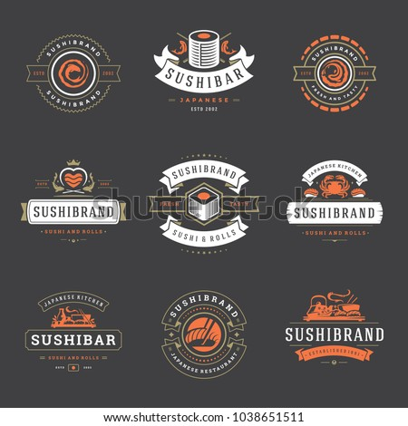 Sushi restaurant logos set vector illustration. Japanese food, sushi and rolls silhouettes. Vintage typography badges design.