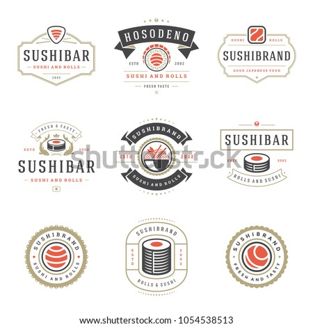 Sushi restaurant logos set vector illustration. Japanese food, sushi and rolls silhouettes. Vintage typography badges design.