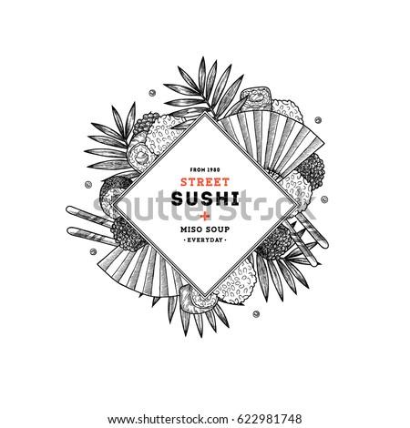 Sushi restaurant menu round composition. Asian food background. Vector illustration