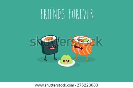Sushi roll and wasabi. Japanese food. Vector cartoon. friends forever. Comic characters.