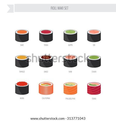 sushi roll vector set flat