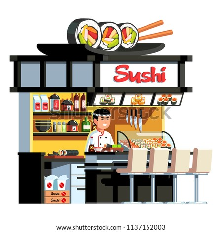 Sushi rolls dish & chopsticks decorated Japanese express sushi restaurant. Welcoming Asian chef cook standing at counter serving ready order. Japan fast food restaurant. Flat vector illustration