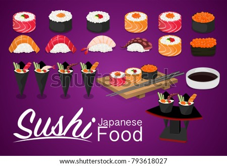 Sushi rolls flat food and japanese seafood sushi rolls. Sushi rolls traditional seaweed fresh raw food. Asia cuisine restaurant delicious. Sushi roll with salmon, smoked eel, selective food vector.