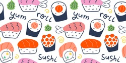 Sushi rolls pattern, seafood illustration, philadelphia, maki and nigiri, yummi japanese food with salmon and shrimp, cute doodle art, seamless vector background for sushi bar, cafe and delivery