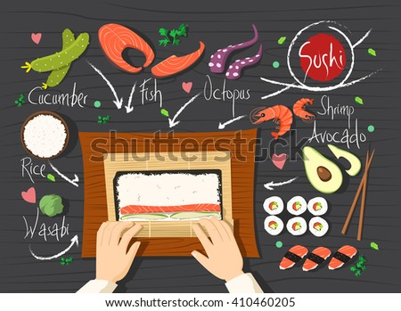 Sushi rolls recipe. Making sushi. Seafood sushi with many ingredients