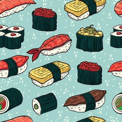 Sushi seamless pattern. Colorful illustration with different types of sushi and rolls. Japanese Food. vector illustration for print