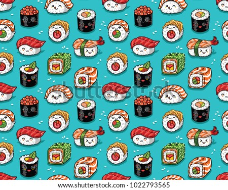 Sushi seamless pattern in kawaii style. Vector cartoon characters background.