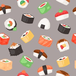 Sushi seamless pattern vector illustration. Japanese cuisine in cartoon style. Asian food wirh rice. Salmon and flying fish. Traditional national dishes for menu, advertisement.