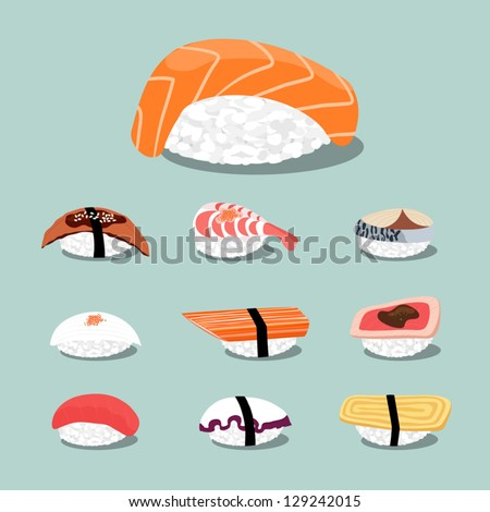 Sushi set icon, vector