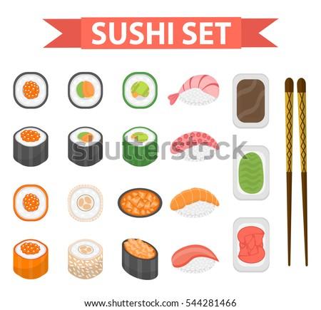 Sushi set icons, element for design, flat style. Japanese sushi and rolls, wasabi, soy sauce, ginger, chopsticks isolated on white background. Vector illustration, clip art