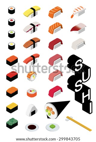 sushi set isometric menu list