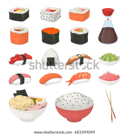 Sushi set on white.