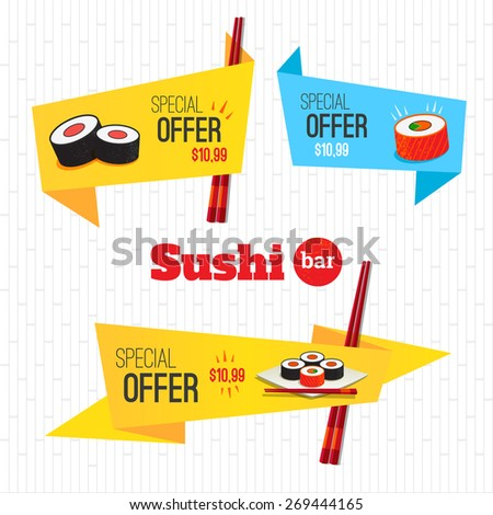 Sushi set origami banners special offer on rolls. Logo sushi bar