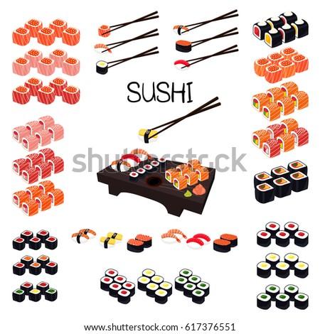 Sushi Set. Set of rolls and sushi with chopsticks