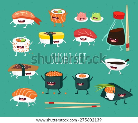 Sushi set. Soy sauce and sushi roll. Japanese food. Vector cartoon. friends forever. Comic characters.