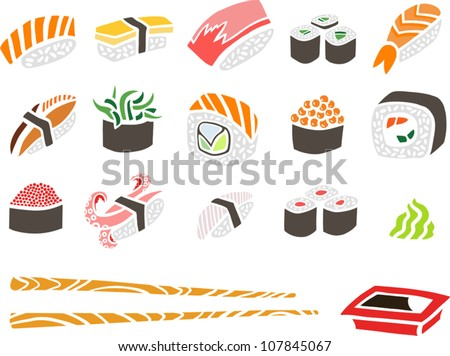 Sushi Set with Chopsticks and Soy Sauce