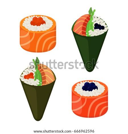 Sushi types - rolls, temaki. Raw fish, caviar, rice and nori in sushi. Made in cartoon flat style