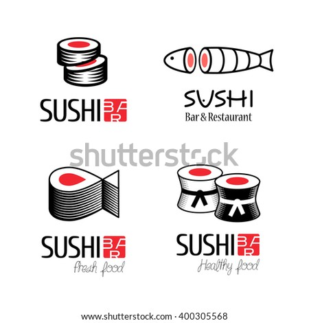Sushi vector logo set. Graphic symbol with fish cut into sushi and rolls