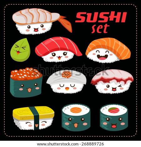 Sushi vector set. Sushi cartoon character illustration.