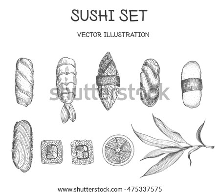 Sushi vector set. Sushi with tuna and shrimp sushi. Sushi with salmon, red fish. Sushi linear graphic.
