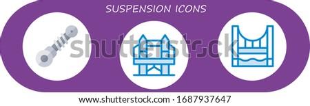 suspension icon set 3 flat