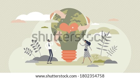 Sustainability in alternative resource electricity supply tiny person concept. Power production using renewable, green, safe and long term source vector illustration. Earth in shape of lightbulb lamp
