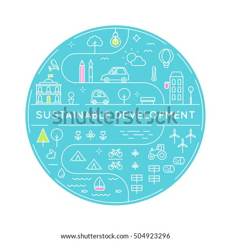 Sustainable Development and Sustainable Living Implementation Concept Line Art Vector Illustration