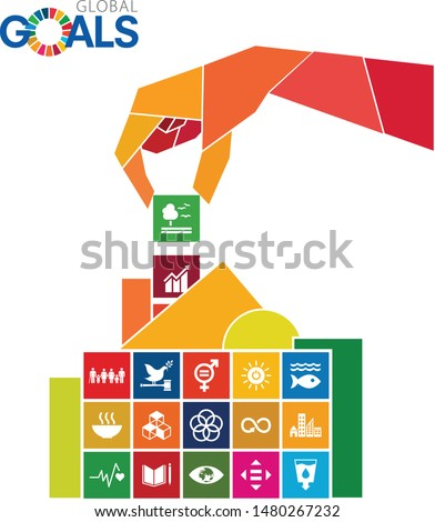 Sustainable Development Goals - the United Nations. SDG. A social hand solving puzzle.