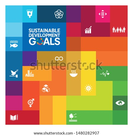 Sustainable Development Goals - the United Nations. SDG. Brochure, Annual report, cover, Poster templates ready made design.